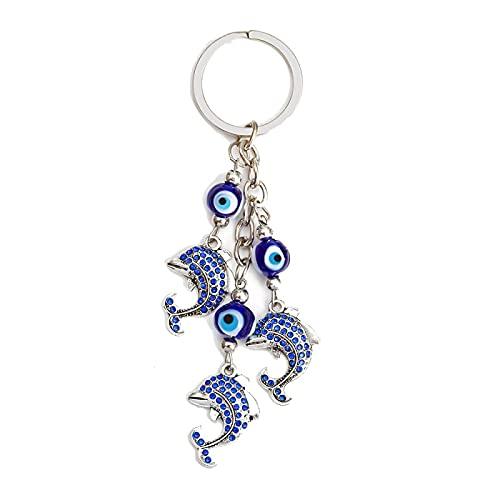 Llavero con Colgante de delfín de Ojo Malvado, Cuentas de Ojo Turco Azul, Llavero de Color Plateado, joyería de Moda para Mujeres y Hombres