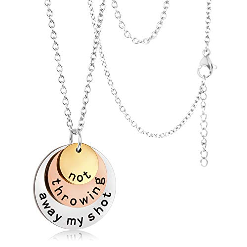 Not Throwing Away My Shot, Hamilton Necklace Gifts, Hamilton Charm Rise Up Necklace, Tri-Layer Broadway Musical Merchandise Jewelry for Hamilton Fans, Theatre Souvenirs for Girls Women Kids Children