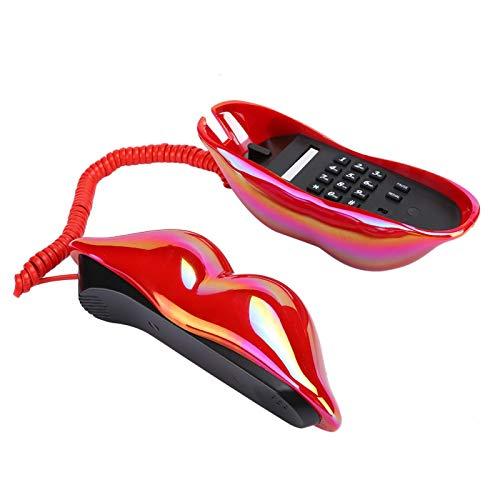 BOLORAMO Creative Red Lips Teléfono Fijo, Cable telefónico de plástico Teléfono Fijo Teléfono Fijo Bonito y Brillante Hogar avanzado para Amigos o familias para la decoración del hogar