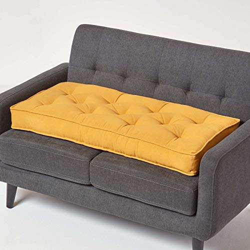 HOMESCAPES Mustard Yellow 2 Seater Booster Cushion Large Firm 100 cm Wide Seat Pad with Supportive 10 cm Thick Lift for Sofa or Bench Cotton Long Cushion for the Elderly, Post Surgery & Pregnancy