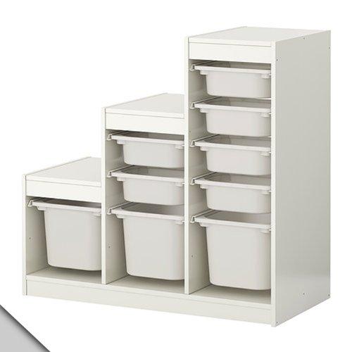 IKEA - TROFAST Storage combination (A1) with boxes, white, white