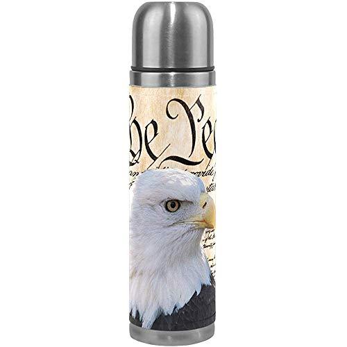 Ciciera-Shop Patriotische Vakuum Isolierte Wasserflasche, Constitution of America Weißkopfseeadler Kaffeetasse Thermos Cup