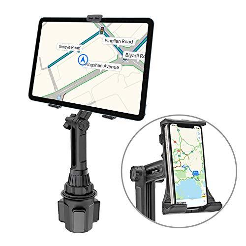 Portavasos Soporte para teléfono, tableta 2 en 1 y teléfono celular Soporte ajustable para automóvil Compatible con iPhone 12 11 Pro Max iPad Air Pro Mini Samsung Galaxy S20 10 9
