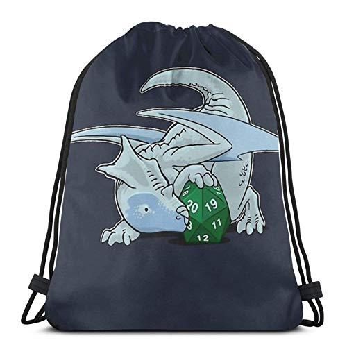 WH-CLA Cinch Bags D20 White Dragon Drawstring Backpacks Beach Bag Print Women Casual Unique Storage Cinch Bags Outdoor Drawstring Bags Lightweight Men For Gym Shopping Sport Yoga