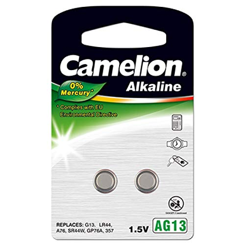 Camelion AG13 Knopfzellen-Batterie (2Einheiten pro Blister), 1,5V, Alkali [Knopfzellen]