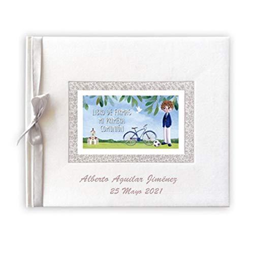 Libro de firmas para comunión color blanco con espiga PERSONALIZADO con grabado en la portada de nombre y fecha (niño bicicleta)
