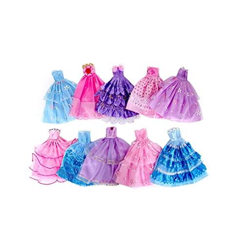 Bao Xiang Regalo De Juguete 10 Pcs Hecho a Mano Vestido De Novedad Vestido De Boda Vestidos De Vestir Ropa para Muñeca (Color/Estilo Aleatorio)