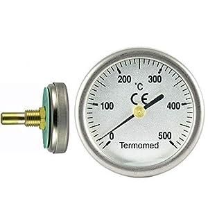 Termómetro para Puertas de Horno de leña, Escala de 0 a 500ºC, diámetro de la Esfera 35 mm. Vaina de 30 mm.