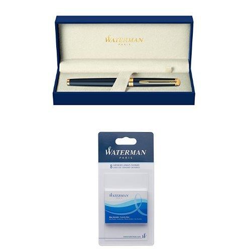 Pack Waterman - Pluma estilográfica Hemisphere en caja de regalo (punta mediana), color negro + Juego de cartuchos de tinta para pluma estilográfica (8 unidades, tamaño estándar, tinta azul)