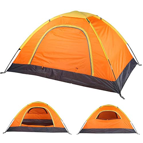 Buitenshuis Draagbaar 100% waterdichte tent Anti-muggen Accessoire voor een tent voor 1-2 personen Stabiele stalen paalconstructie Ingenaaid grondzeil met dubbellaags ontwerp voor Climbing(oranje)
