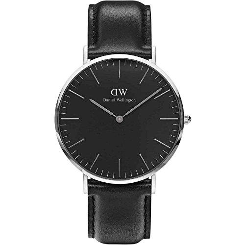 Daniel Wellington-Armbanduhr für Herren, 40mm, klassisch, Schwarz, Sheffield-Silber DW00100133