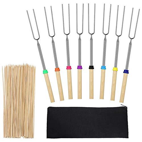 BKAUK Marshmallow-Bratspieße, einziehbar, mit 100 Bambus-Spießen, 8 Stück