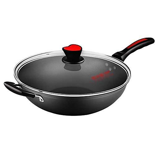 SPNEC Red Cover Wok Antihaft-Kocher Haushalt Ölkocher Wok Gasherd Universal Kochtopf
