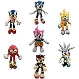 QWEI 7 Piezas Kawaii Sonic Peluche Juguetes Lindos Juguetes De Peluche Sonic Muñecos De Peluche Suav...