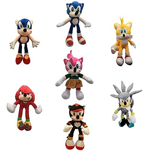 QWEI 7 Piezas Kawaii Sonic Peluche Juguetes Lindos Juguetes De Peluche Sonic Muñecos De Peluche Suave Regalo De Bebé para La Navidad De Los Niños 25-30Cm