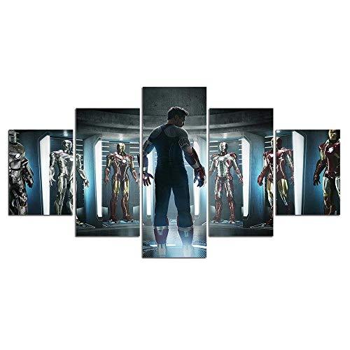 Murturall canvasdruk 5 stuks canvas Ironman pak film schilderij op canvas modulaire afbeeldingen film muurkunst poster 200x100cm