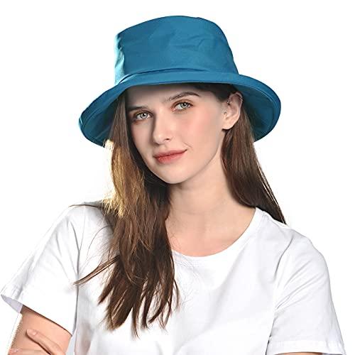 Comhats Sombrero de sol para mujer SPF 50 de ala ancha, impermeable, para senderismo, con correa para la barbilla, ajustable