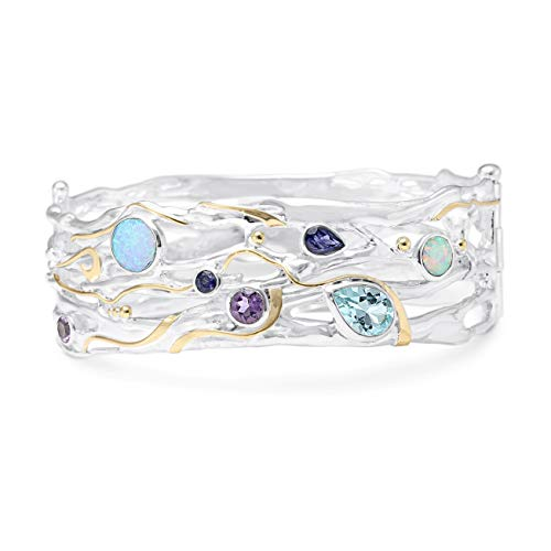 Banyan Jewellery Women's 925 Sterling Silver Wide Multistone Bangle with Blue Topaz, Opalite, Iolite and Amethyst