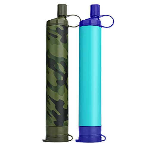 WakiWaki Straw Filter, Straw Water Filter, Hiking Water Purifier, Camping Straw Filter for Backpacking, Drinking Water in Survival Situation - Camo - 1Pack