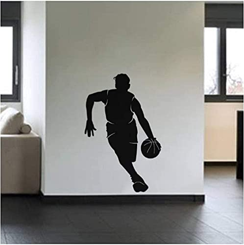 Pegatinas de pared negras de baloncesto con goteo, calcomanía de vinilo extraíble para pared, sala de estar, decoración del hogar, ventiladores de baloncesto, decoración de la habitación 41X61Cm