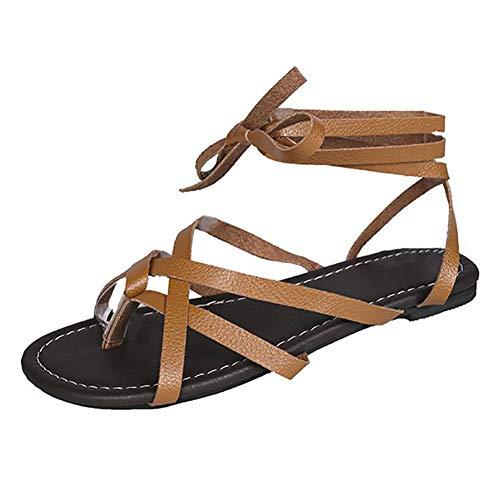 UELEGANS Verano Mujer Cómodos Casual Playa Antideslizante Sandalia Moda Tendencia Cordones Plano Sandalias,Marrón,43