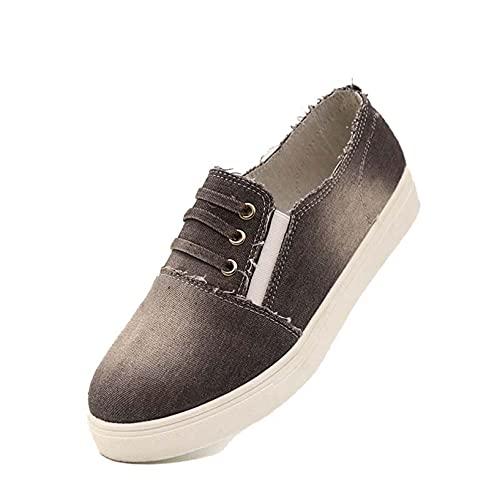 Zapatos de Lona sin Cordones para Mujer, Zapatos de Trabajo al Aire Libre de Primavera y Verano Vintage, Mocasines de Fondo Suave, Zapatos de Trabajo de Plataforma usable