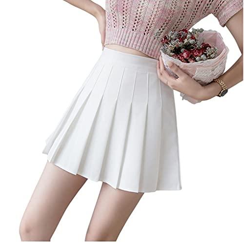 Vrouwen Rokken plooirok hoge taille Tennis korte rokken Dames A Line Vast Kleur rok voor Summer White 2XL