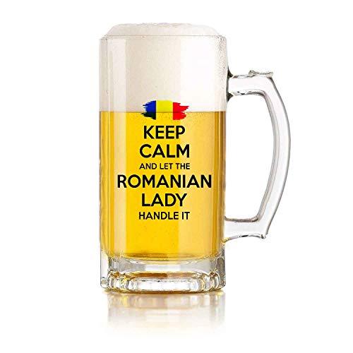 Restaurante de jarra de cerveza de vidrio, jarra de cerveza de juego de pelota Regalo rumano Mantenga la calma y deje que la dama rumana lo maneje