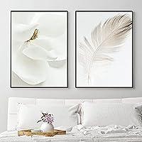 ポスターとプリントホワイトフェザーキャンバス絵画花壁アートキャラクターミニマリストモダンホーム装飾壁画40x60cmx2フレームレス