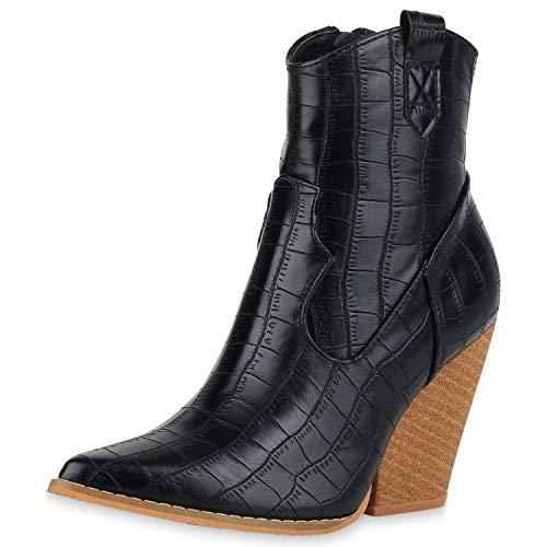 SCARPE VITA Damen Cowboy Boots Leicht Gefütterte Stiefeletten Prints Schuhe Kork-Optik Kroko Absatzschuhe Stiefel 186262 Schwarz Braun Kroko 39