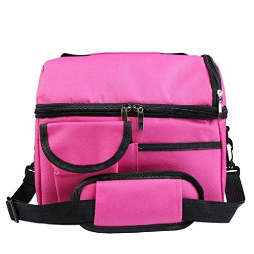 Jessie storee Insulation Lunch Box Bento Bag, Large Capacity Female Portable Bag, Double Layer Breast Milk Preservation Package, Leakproof Food Storage Bag Picnic Hiking, Thick Canvas, Pink