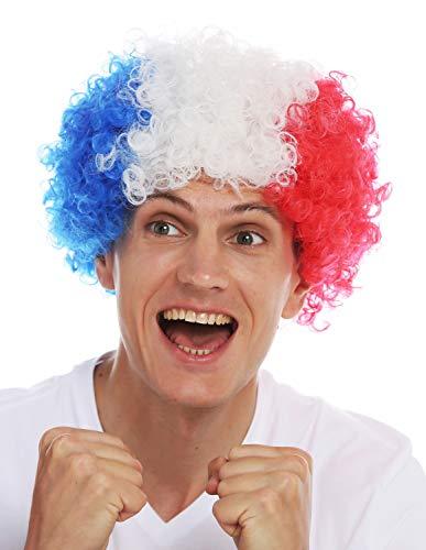 WIG ME UP ® - MMAM-15M Peluca Carnaval Afro hinchas del fútbol Copa Mundial Francia Tricolor Azul Blanco Rojo