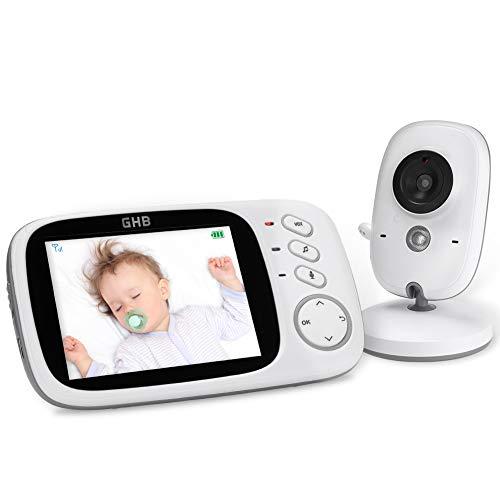 GHB Baby Monitor Video 3.2'' 750mAh Batteria Videocamera con Sensore di Temperatura e VOX 8 Ninne Nanne Interfono a due voci da Attivazione Vocale