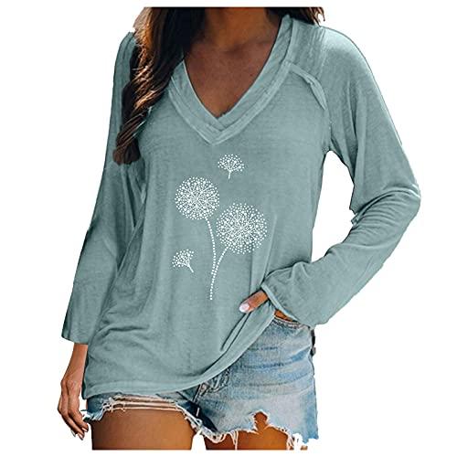 URIBAKY - Blusa de manga larga para mujer con cuello en V a la moda, camiseta de manga larga con estampado, estilo chic, A-menta verde, XL