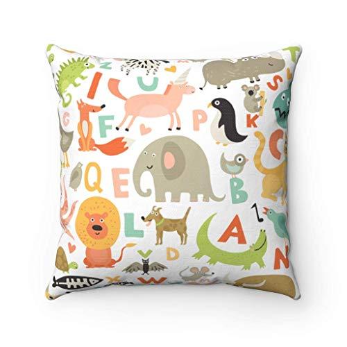 Funda de Almohada con diseño de Alfabeto y Animal, Bolsa de Lona con Alfabeto Colorido para bebé, Bolsa de Compras Reutilizable para Amantes de los Animales