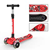 New Olym Kick Scooter for Kids 3 Wheel Foldable for Big Boys or Girls Toddlers,4 Adjustable Height with Extra Wide Deck All-Covered Brake for Children 3-14