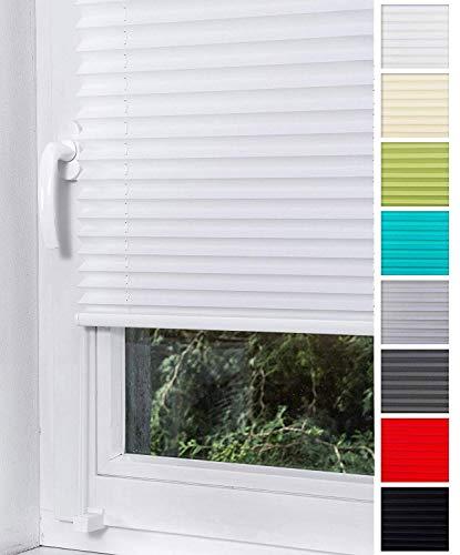 Home-Vision® Plissee Faltrollo ohne Bohren mit Klemmträger / -fix (Weiß, B25cm x H100cm) Thermoplissee Sonnenschutz Jalousie für Fenster & Tür