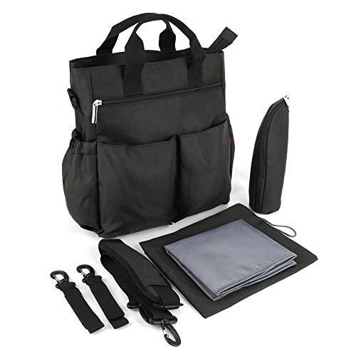 Bolsa de pañales para bebé con mochila portátil para pañales de gran capacidad para carrito Suspension Mommy Backpack(Negro)