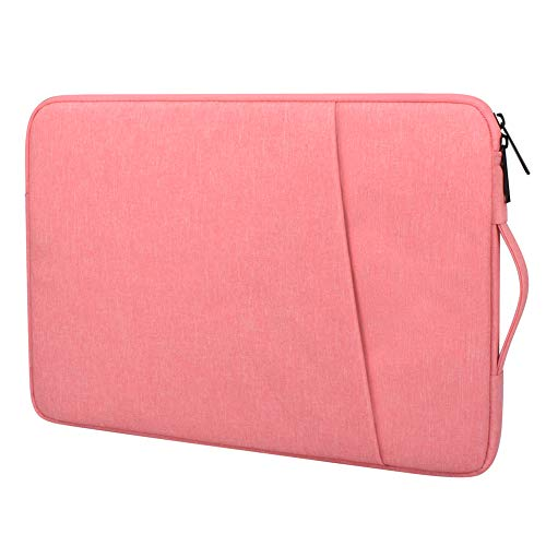 Ultra Slim Laptop Handle Bag Compatible With 13-13.3 inch MacBook Pro, Air, Notebook, Waterproof Polyester Protective Case Cover With Pocket Briefcase (14-15.4 inch, Pink)