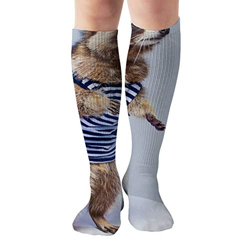 Raccoon Vest Isolated On White Adorable Miscellaneous Compression Socks For Women And Men - Best Medical,For Running, Athletic, Varicose Veins, Travel 19.68 Inch