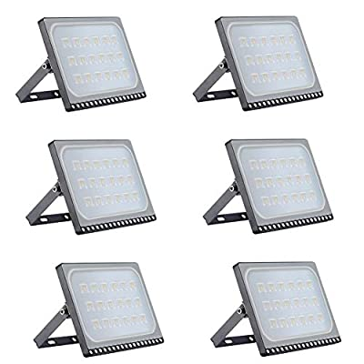 Viugreum 6 Pack 100W LED Flood Light Outdoor, 3000K Warm White 8000LM Super Bright Outdoor Security Lights, IP67 Waterproof Led Outdoor Light for Garage, Warehouse?Garden, Yard, Lawn & Yard