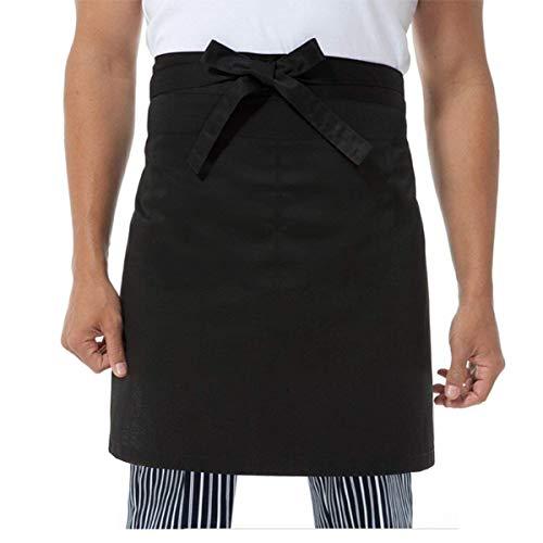 Tinksky Montre Femme-Tablier Cuisine Cooking Tablier court Tablier de serveur avec 2 pochettes (Noir)
