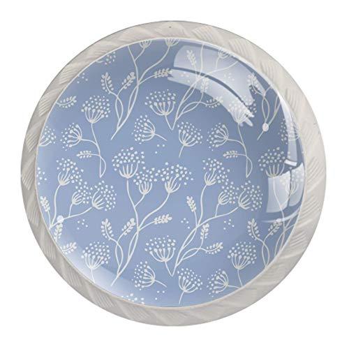 Redondo Blanco pomos Patrón lila simple para muebles de habitación infantil, para habitación infantil, armarios, cajones, baúles (4pcs) 35mm