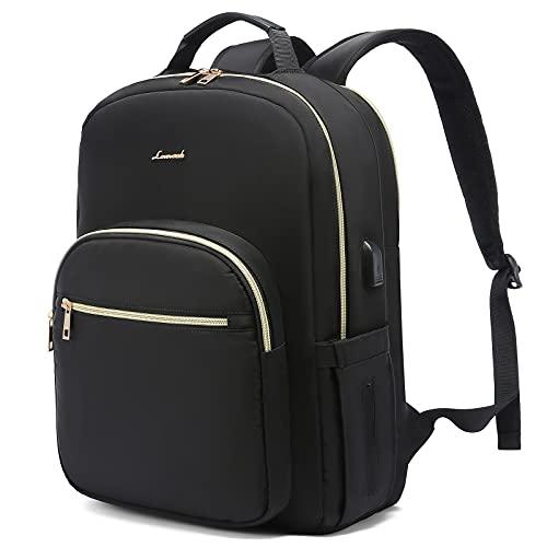 LOVEVOOK Laptop Rucksack Damen 15,6 Zoll Damen Rucksack mit Laptopfach Stylischer Daypack Wasserdicht mit USB-Ladeanschluss für Uni Reisen Job, Einfache Mode Schwarz