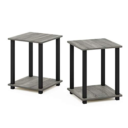 Furinno End Tables, Wood, French Oak Grey/Black, one size