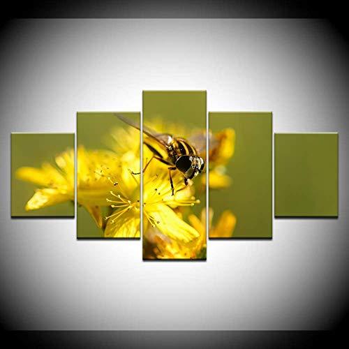 DGGDVP canvas schilderij bijen verzamelen honing 5 stuks muurkunst schilderij modulaire behang poster afdrukken voor woonkamer wooncultuur 30x40cmx2,30x60cmx2,30x80cmx1 Geen frame.