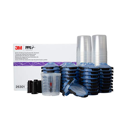 3M PPS 2.0 Spray Gun Cup, Lids and Liners Kit, 26301, Standard, 22 Ounces, 125-Micron Filter, Use for Cars, Furniture, House and More, 1 Paint Cup, 50 Disposable Lids and Liners, 32 Sealing Plugs