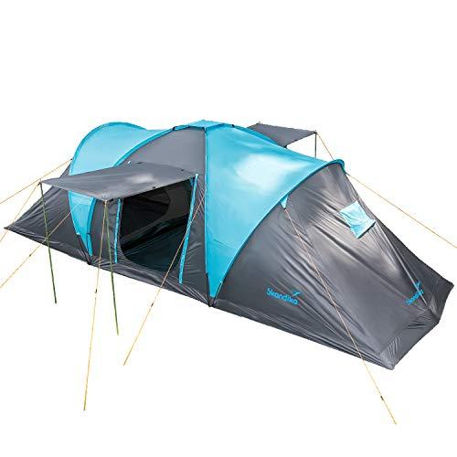 Skandika Kuppelzelt Hammerfest für 6 Personen | Campingzelt mit eingenähtem Zeltboden, 2 m Stehhöhe, 2 Schlafkabinen, 2 Eingänge, Moskitonetze, Sonnendach, 2000 mm Wassersäule, Zelt zum Campen (blau)