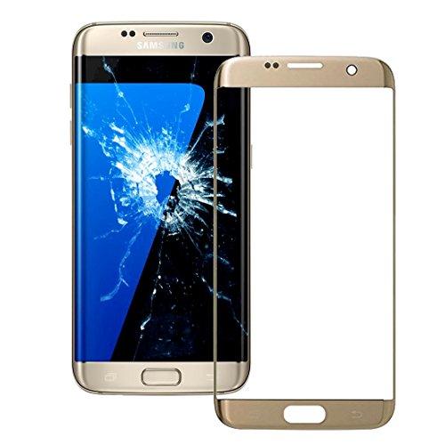 ZHENGYAQI-PHONE CASE Accesorios Compatible con Samsung Galaxy S7 Edge / G935 Pantalla Frontal Lente de Cristal Exterior (Color : Gold)