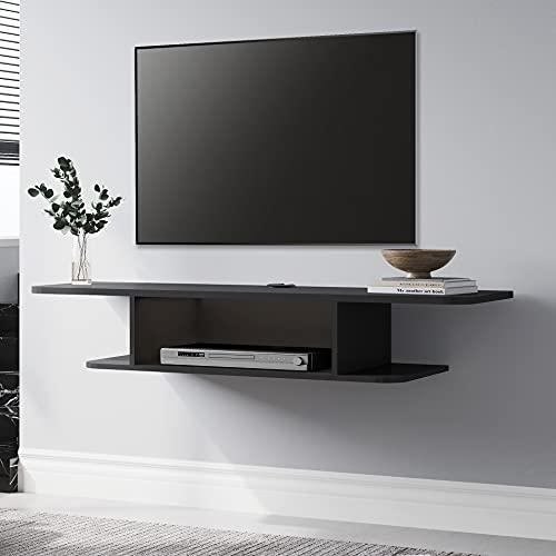 FITUEYES Estanteria Pared para TV con Agujero del Cable Mesa para TV Moderno Media Console Shelf Color Negro Mate DS210501WB